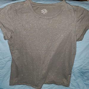 J. Crew Vintage Cotton gun metal glitter tshirt